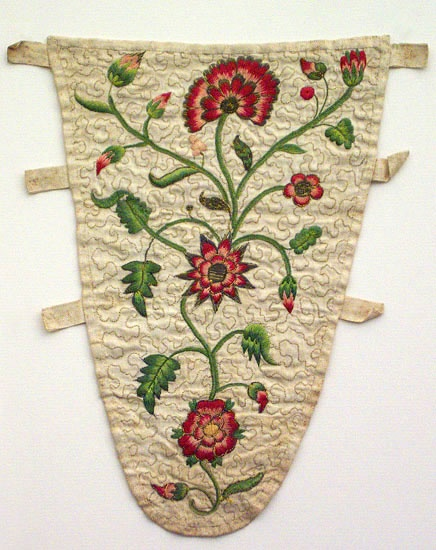 Embroidered stomacher. Apparently from Vintage Textiles, but record seems lost.