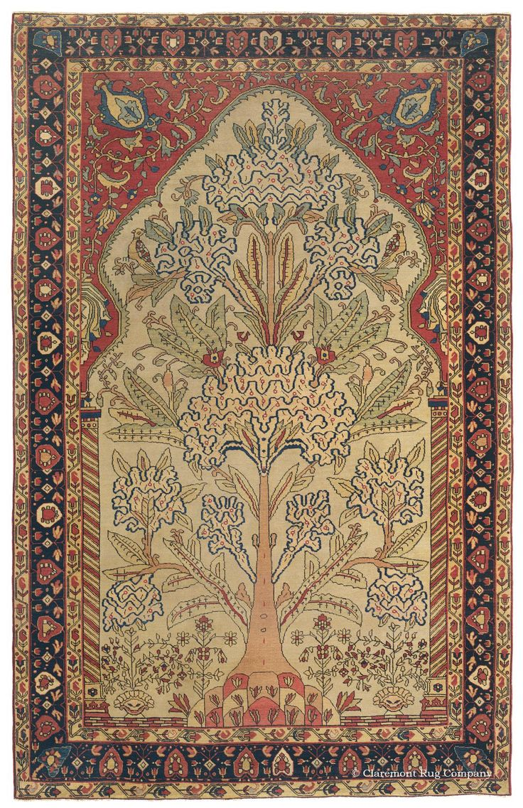 "Tehran ""Tree of Life,"" 4ft 6in x 7ft 2in, 2nd Quarter, 19th Century.     Of soaring artistic magnitude, this consummately crafted representative of the prized Tehran Persian rug weaving tradition boasts an extremely unique rendition of the age-old ""Tree of Life"" motif, drawn with etched precision. At over 150 years of age, this first rate collector's antique carpet offers the singular artistry, a refreshing range of seldom-seen hues and a balanced aesthetic."