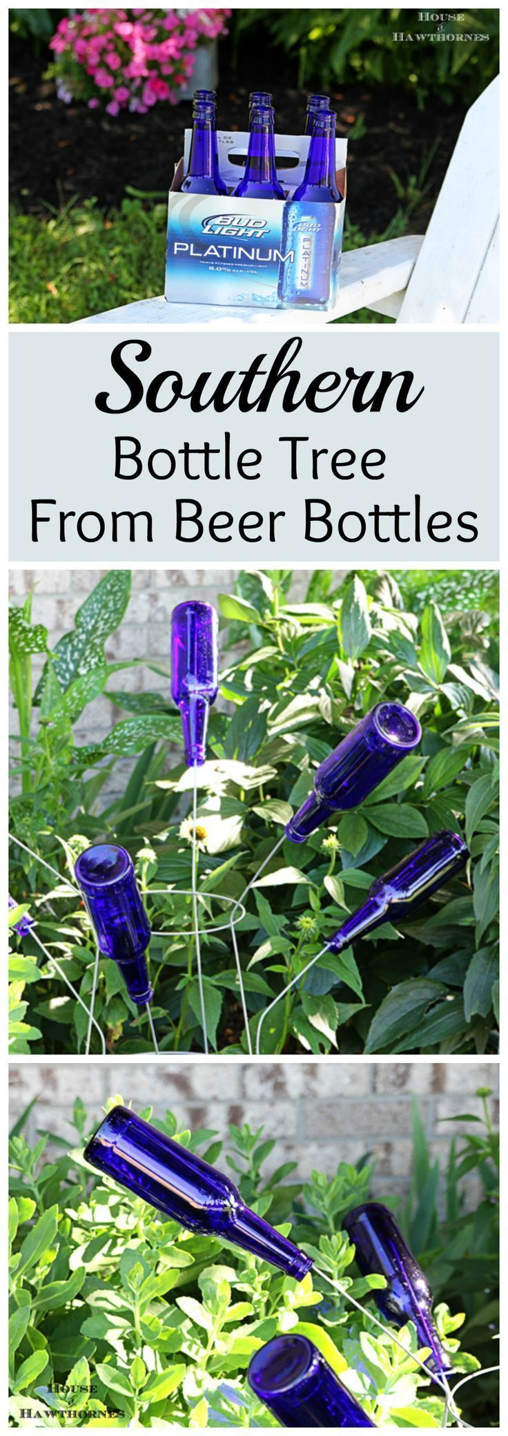 Fun DIY Southern bottle tree made with blue beer bottles - super duper easy to make.