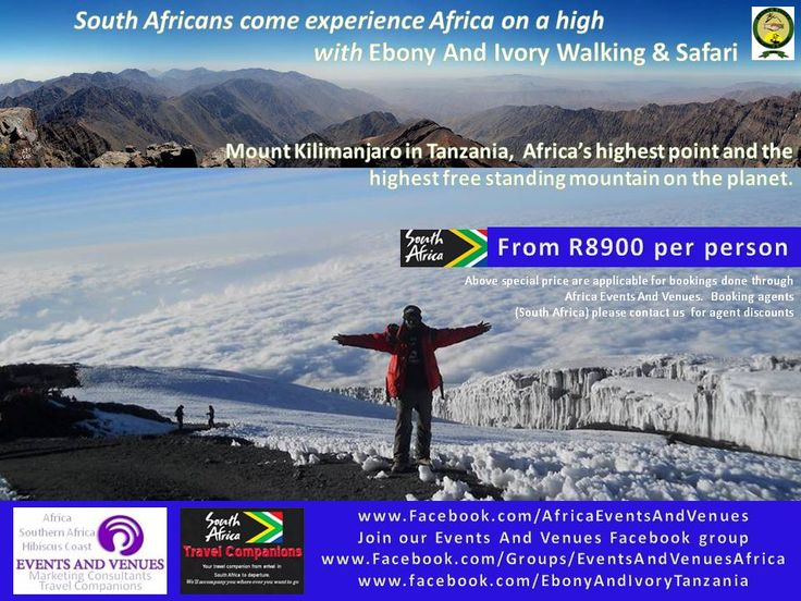 Want to visit Kilimanjaro? Now you can with our special rates for South Africans. Join or Facebook group www..Facebook.com/Groups/EventsAndVenuesAfrica and come discover Africa with us! Feel free to share your own AFRICA event or venue with us too!
