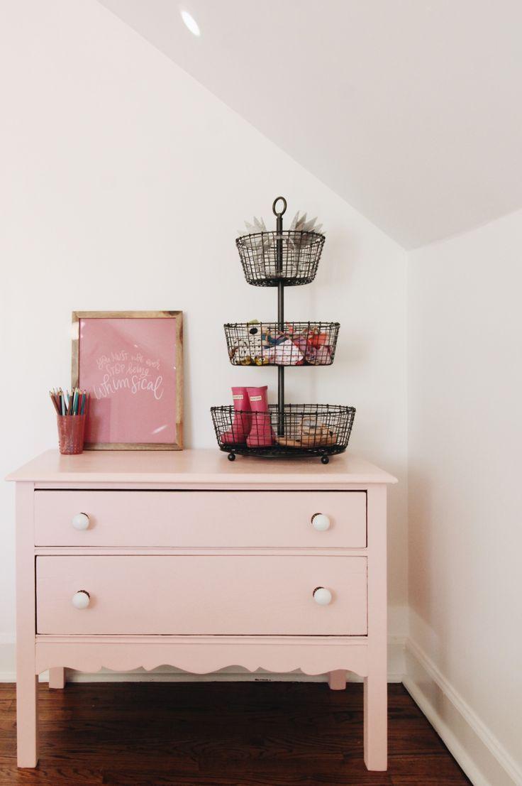 Refinished Antique Pink Dresser / Shared Girls Room