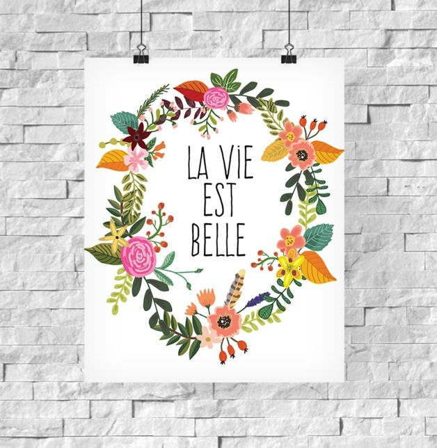 Kunstdruck La Vie Est Belle // art print with flower wreath via DaWanda.com