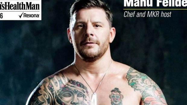 My Kitchen Rules judge strips down to show off results of new exercise regime - and reveals unexpected body art.