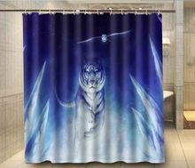Thuis Badkamer Docors Witte Tijger En Uil Douchegordijn 180*180 cm Waterdicht Polyester Bad Gordijn de baño(China (Mainland))