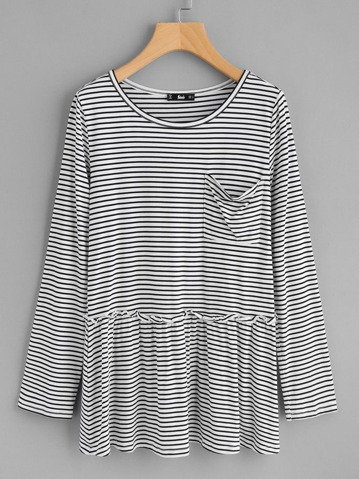 T-Shirts by BORNTOWEAR. Pocket Front Frill Detail Striped Smock Top