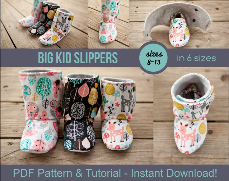 Big Kid Slipper Pattern - pdf Sewing Pattern for Big Kids' Slippers - Boot Pattern - Crafts for Kids - DIY House Slippers by BeautifulPieShop on Etsy https://www.etsy.com/listing/258105768/big-kid-slipper-pattern-pdf-sewing