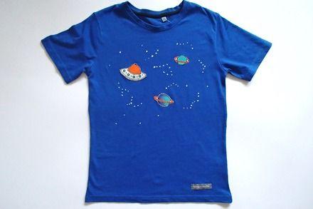 T-shirt da bambino, in puro cotone - spazio  : Moda bambino di mompatchwork