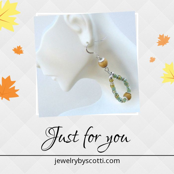 Yellow and Green Beaded Hoop Earrings with Sterling Silver Hooks, 3 inches long, from Jewelry by Scotti: https://www.etsy.com/shop/JewelryByScotti