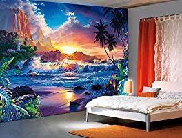 Papier Peint Photo Mural - BEYOND HANAŽS GATE (111) - 366x254cm 8 parties-Poster Géant XXL - Fantasie Mer Carabie Beach Océan Nature Paysage Cuisine Chambre Lit Salon