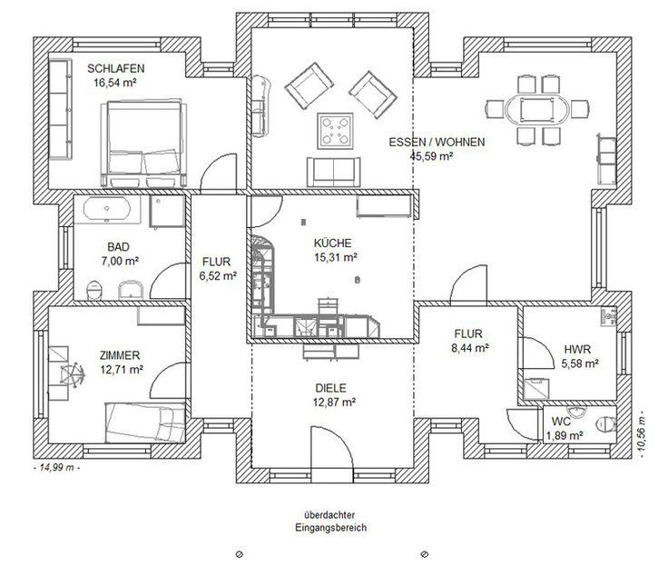 13 best rund ums Haus images on Pinterest Bungalows, House - plan maison 170 m2 plain pied