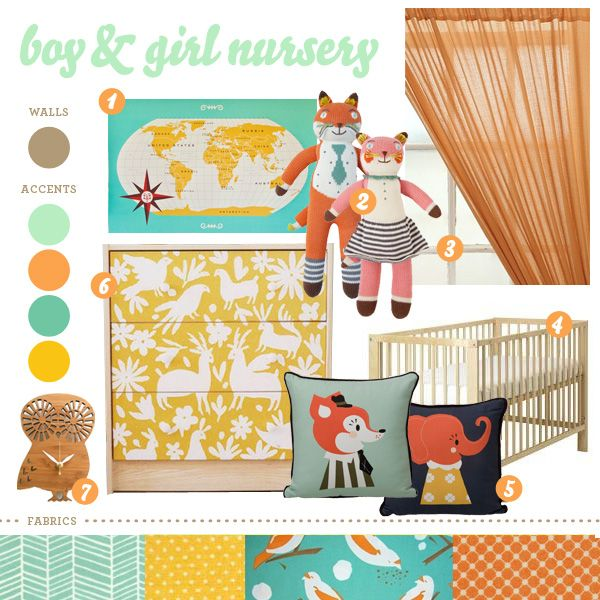 Nursery idea for a boy or girl - bright colors with neutrals also and a bit woodsy.