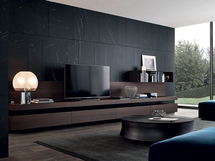 Sectional Lacquered TV Wall System SINTESI   Poliform