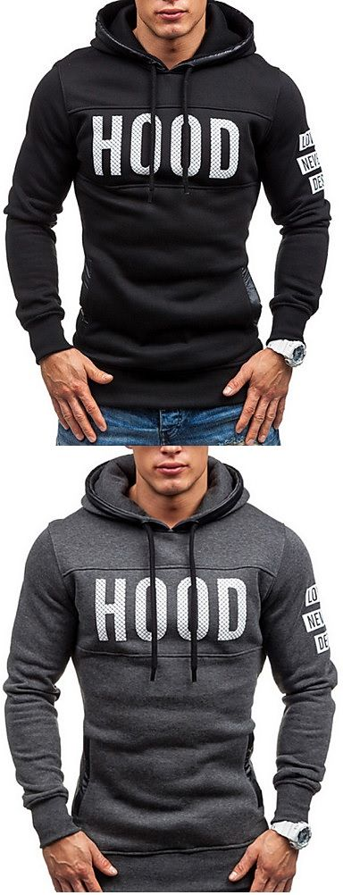 Sporty casual hoodie men pullover  at black, dark grey, light grey, beige colors for only $16.14.