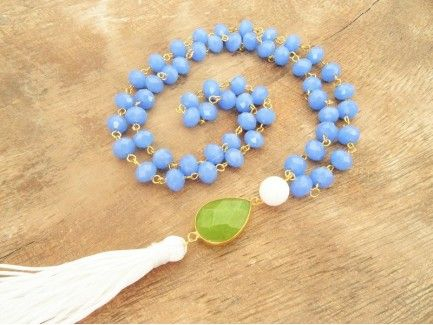 Aqua Blue Rosary Necklace