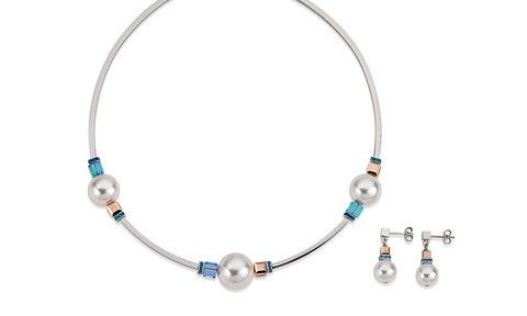 Swarovski Large Crystal Pearl and blue Swarovski Necklace and Earrings 4803_0700