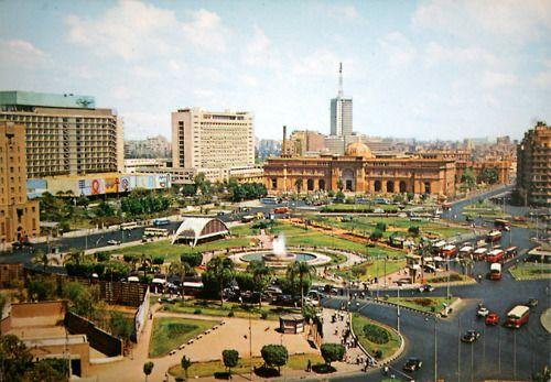 Tahrir Square and the Egyptian Museum, Cairo, 1975. Egyptian postcard, photo and copyright reserved by Lehnert & Landrock, K. Lambelet & Co., Cairo.