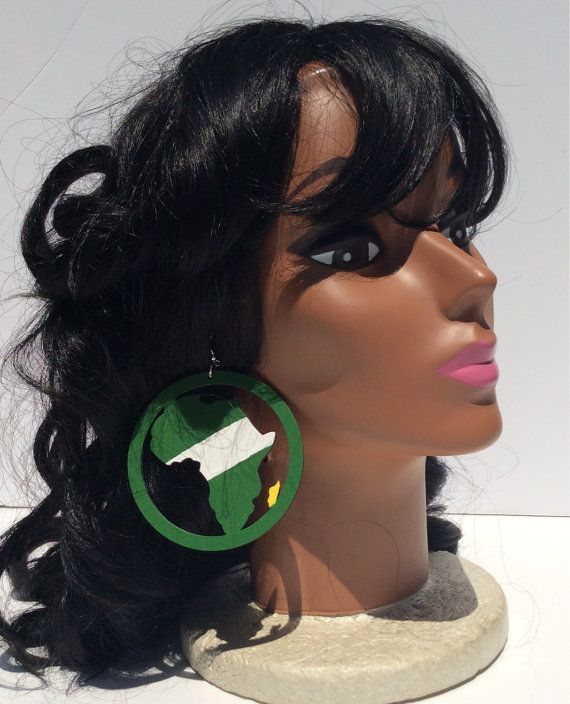 Nigeria map of Africa wooden earrings without by SaloneStarr  ONLY $10 & FREE DOMESTIC SHIPPING!!!
