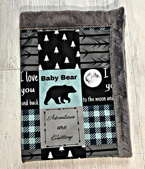 ***Options*** Please read carefully!! Blue mint baby bear with graphite arrow backing. Minky blankets are minky on both sides. Check shop info for turnaround time. Minky Baby blanket - Measures approximately 28x38 inches. Great for strollers, car seats, swaddling etc Minky Toddler/Crib