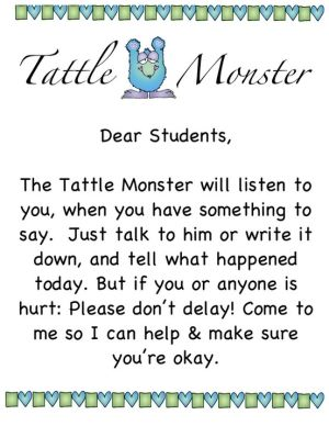 I will have a tattle monster!