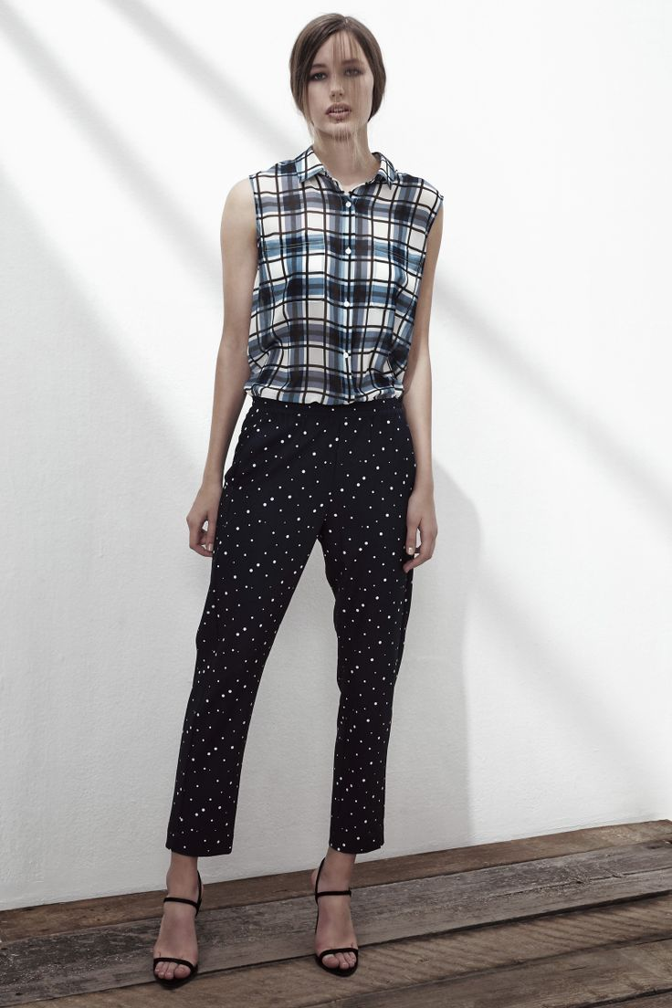 FRIEND CRUSH CHIFFON SLEEVELESS SHIRT IN GINGHAM BLUE CHECK, BLANK GENERATION 2 CREPE TROUSERS IN BLUE DOTS. www.fallwinterspringsummer.com