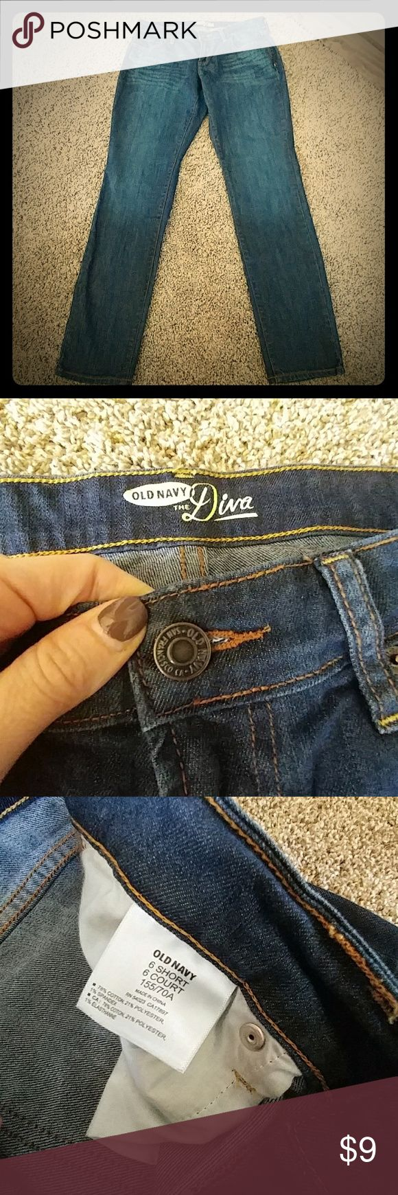 """Old Navy """"Diva"""" Jeans These are practically new WITHOUT the tags, in almost perfect condition!! Ultra soft denim with some stretch.  For curvy ladies ;)  Size 6 short. Dark, rich cobalt blue, orange stitching. I wish these fit me....I'd keep them!! They are the ideal, versatile pair of jeans to dress up with a tunic and heels or dress down with sneakers and a T-shirt. Inseam measures 28 in. Thanks!! :) Old Navy Jeans"""