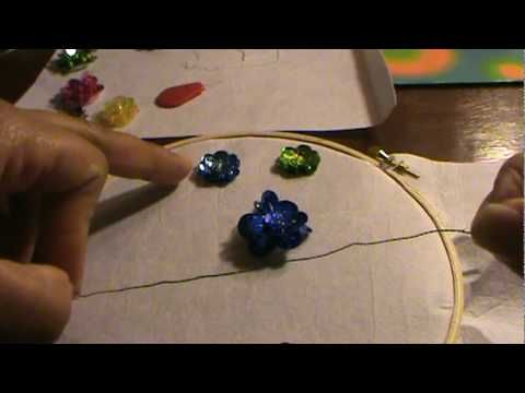 HOW TO SEW A KUNDAN & PEARL BEADED SEQUINED FLOWER - YouTube