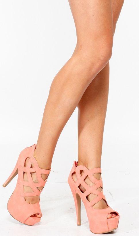 Coral Cutout Heels ♥