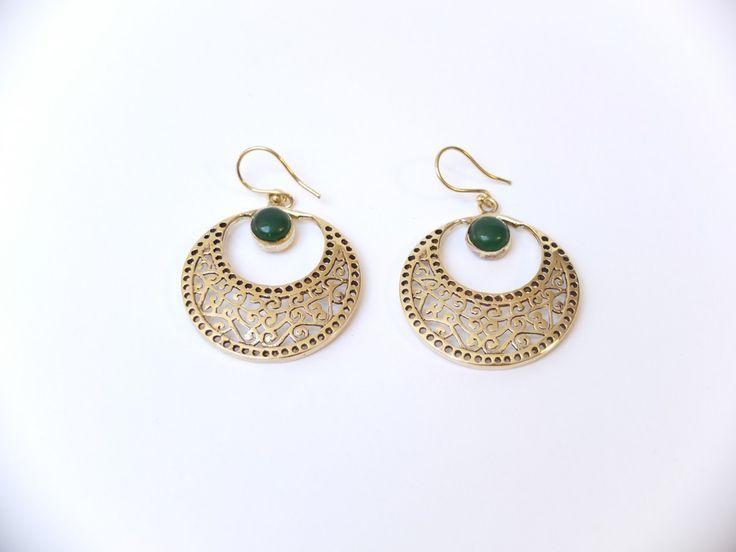Les bijoux d'Ely – Boucles d'oreilles en bronze avec jade naturelle