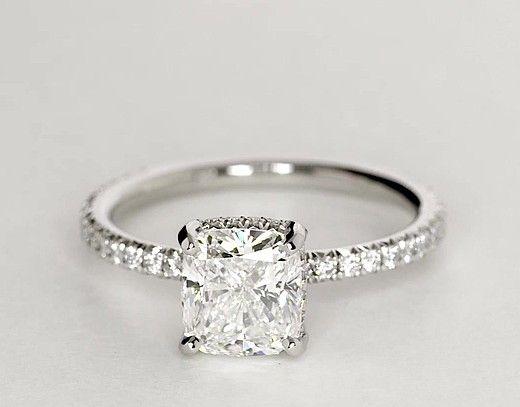 Blue Nile Studio Cushion Cut Petite French Pavé Crown Diamond Engagement Ring in Platinum | Blue Nile
