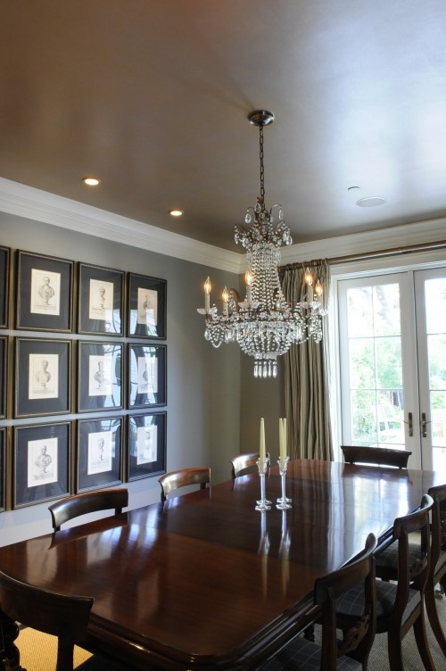 Modern Masters Metallic paints on ceiling. Gold first, then a glaze of silver applied on top. Artist Allison Cosmos. Interior Design, Michelle Opperman