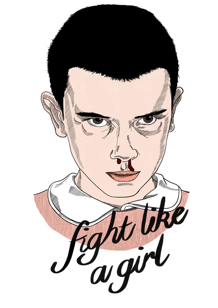 Fight like a girl. Strangers things. Eleven. Girls power. Pink. Typography.