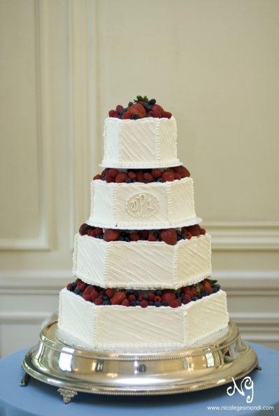 wedding cake, modern, buttercream, simple, elegant, fruit, berries, strawberry, raspberry, blueberry, white monogram, rough frosted, hexagon, octagon