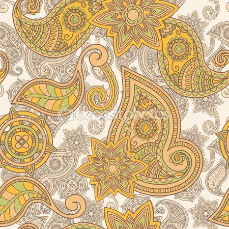 вектор бесшовные руки drawn Пейсли шаблон — Векторная картинка #6136123