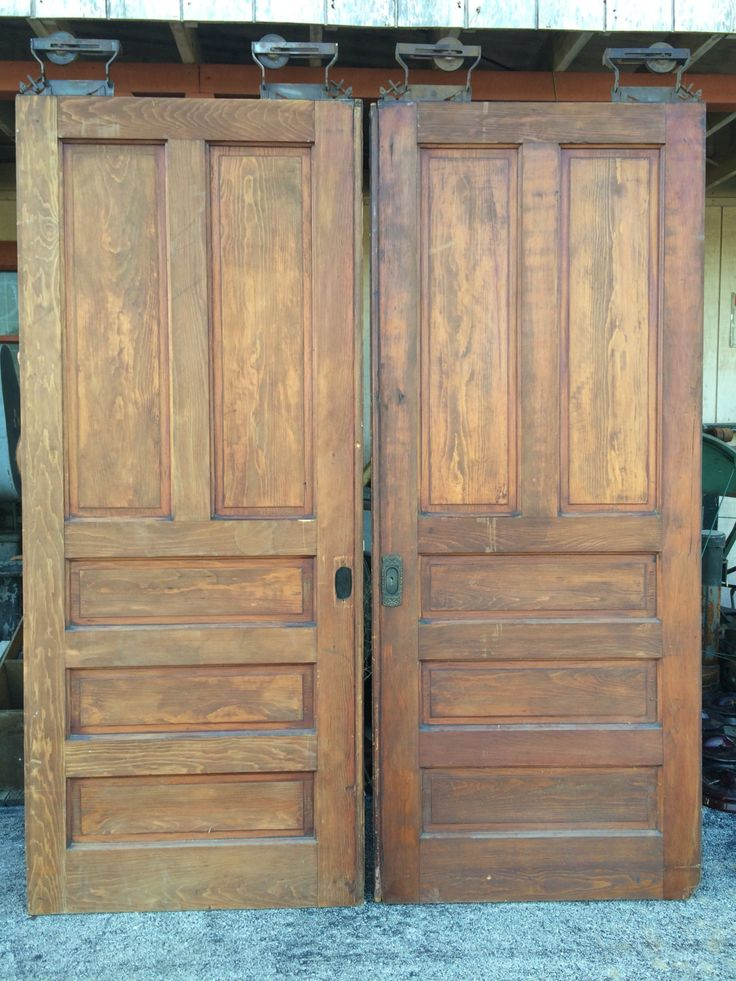 Pr Vintage And Antique Wooden Pocket Doors Salvage Farmhouse Style Barn Door  Track Rollers Fixer Upper Joanna Gaines By