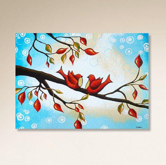 Mon unique, celle dun amour gentil oiseaux peinture acrylique sur toile ajoutera charme et romance à votre domicile ! Belle décoration de Noël et