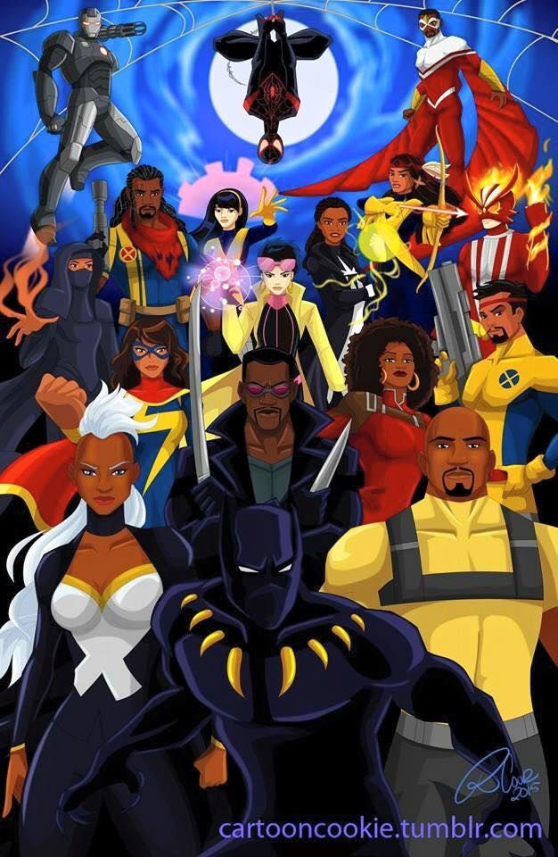 Marvel's Heroes of Color  (from front to back) Black Panther - T'Challa - African, Wakanda Storm - Ororo Monroe - African Luke Cage - African America Blade - Eric Brooks - African America  Ms Marvel - Kamala Khan - Pakistani-American Misty Knight - African American Forge - Cheyenne Indian, Native American Dust - Sooraya Qadir - Sunni  Jubilee - Jubilation Lee - Chinese-American Bishop - Lucas Bishop - African American (future USA) Karma - Xi'an Coy Manh - Vietnamese  Spectrum - Monica…