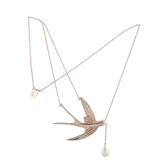 Image of SWALLOW STATEMENT NECKLACE ROSE
