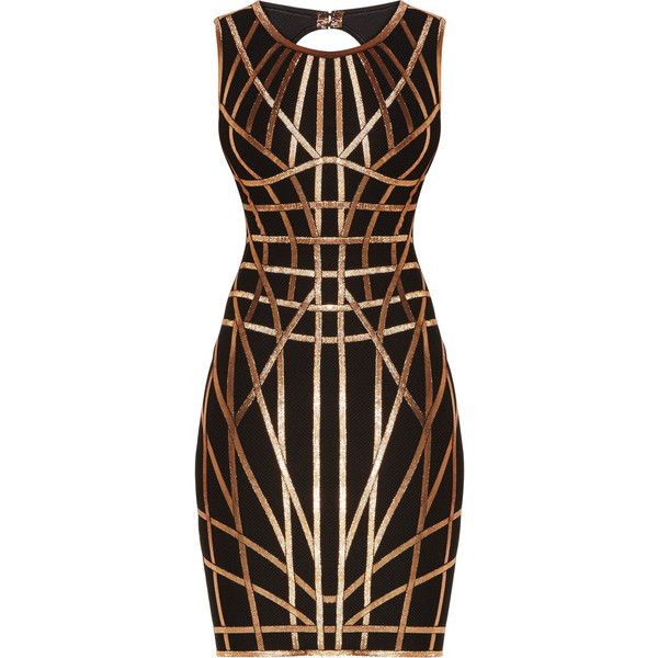Herve Leger Romee Metallic Caging Bodycon Dress ($1,590) ❤ liked on Polyvore featuring dresses, body con dress, bodycon cocktail dress, sleeveless dress, body conscious dress and caged bodycon dress