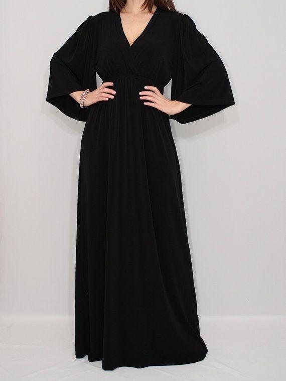 Black Kimono Dress Maxi Dress for Women Maternity by KSclothing, $45.00