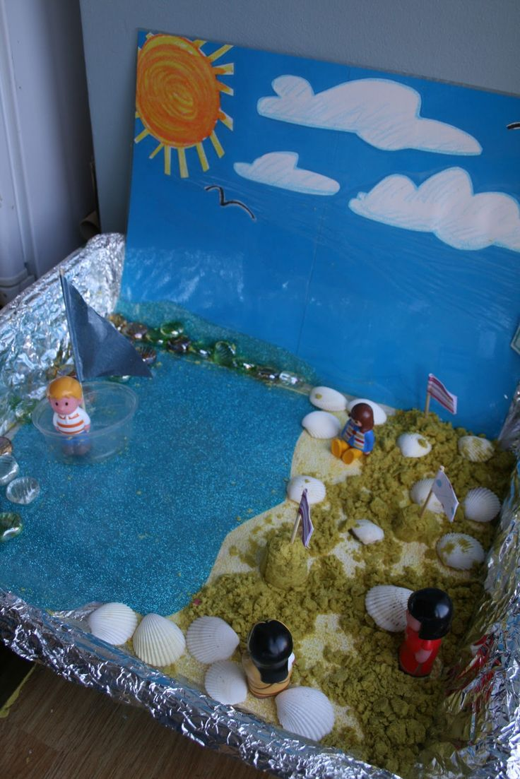 Make a seaside small world play scene with sensory materials and natural elements to enrich play!