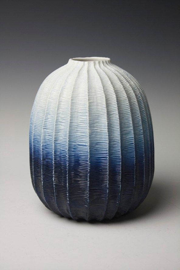 Andrew Wicks: Blue Ombre Vase I feel the ombre of the vase suggests a sense of depth and weight to the vase, further made apparent by the line and satisfying shape of the piece.