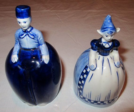 Delft Blue and White Boy and Girl Bells by VintageEstateLiving
