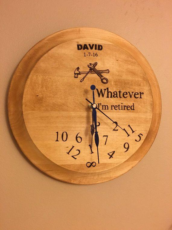 Wood burned retirement clock custom engraved Father's