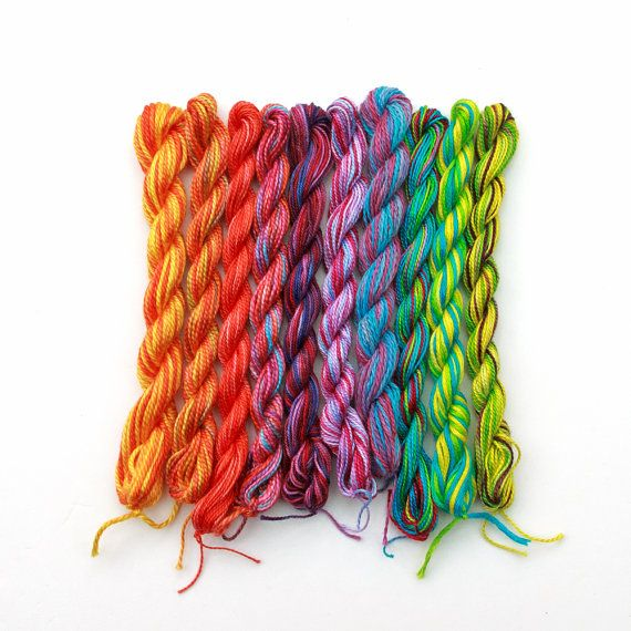 Hand dyed cotton embroidery thread, 10 mini-skeins