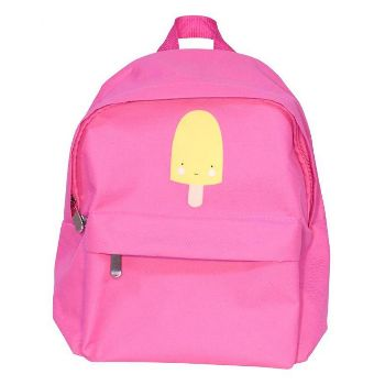 A Little Lovely Company Backpack In pink: Cool, pink backpack with a nice ice cream on it from A Little Lovely Company. Made of sturdy material, lined with nylon, padded adjustable shoulder straps, frontside is an extra pocket for some small items, the large section fits a lunch box and a bottle. Ideal for school, nursery or a day out.