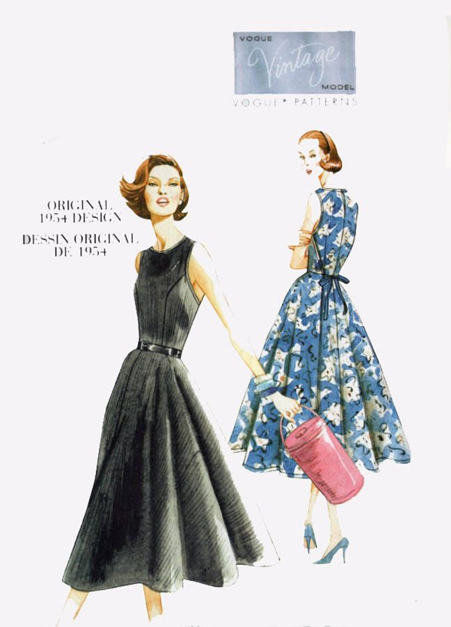 1950s Misses' Back-Wrap Dress Sewing Pattern Vogue 8788 Vintage Model Reissue Pattern Reg. and Plus Size 14-22 Bust 36-44 UNCUT by sandritocat on Etsy