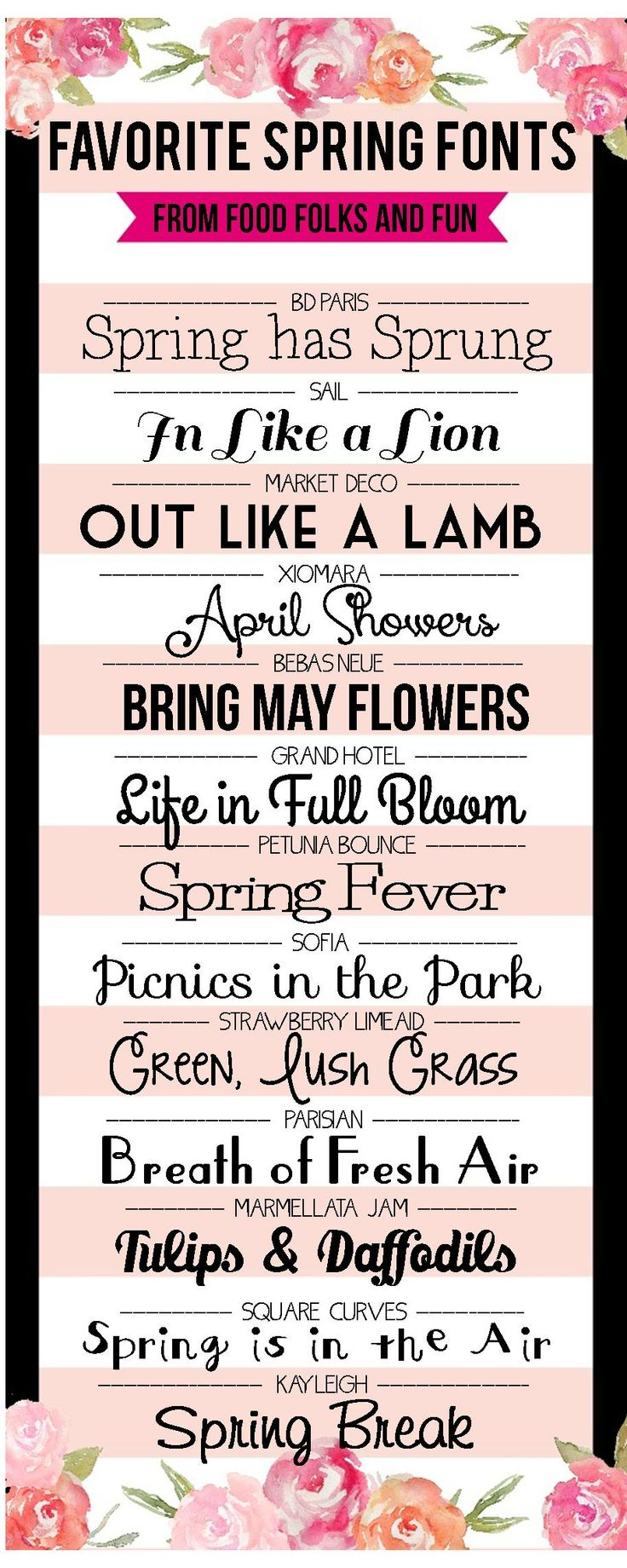 Favorite FREE Spring Fonts - Food, Folks, and Fun