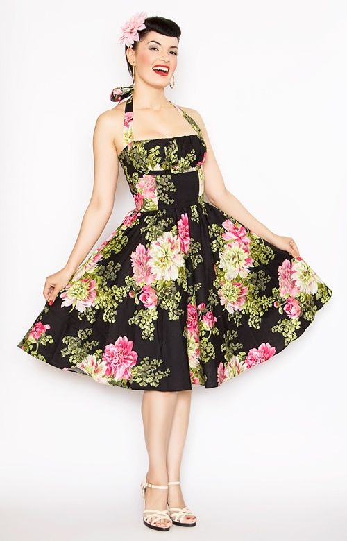Rockabilly Girl by Bernie Dexter**Dark Tea Room Frenchie Halter Swing Dress - Unique Vintage - Homecoming Dresses, Pinup & Prom Dresses.