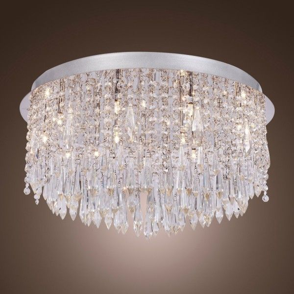 15 Halogen Lamp Round Clear Crystal Flush Mount