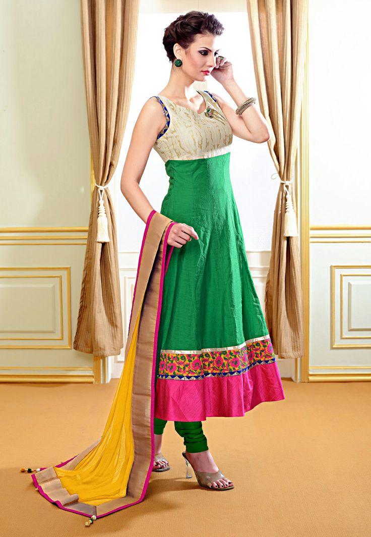 Green Chanderi Art Silk Readymade Anarkali Churidar Kameez @ $125.00